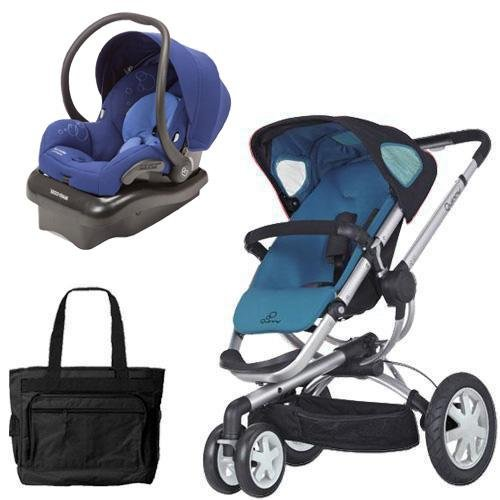 (Quinny CV155BFWKT2 Buzz 3 Travel System in Blue Scratch with Diaper Bag)
