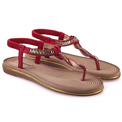 Unze Sandalias planas adornadas Mujeres Mayea ' Rojo