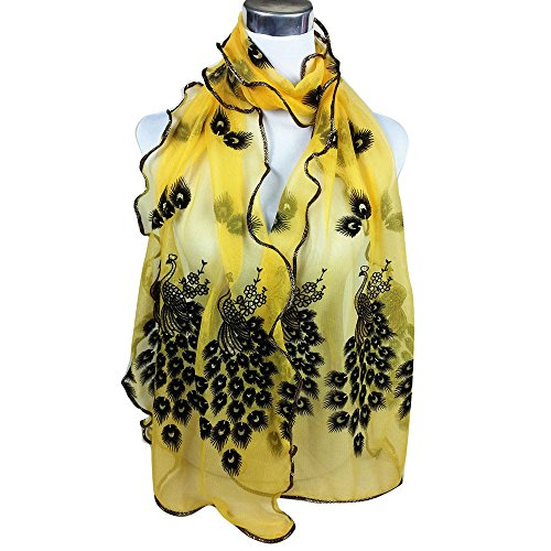 HYIRI Women's Peacock Flower Embroidered Lace Scarf Long Soft Wrap Shawl J Colorful muslim