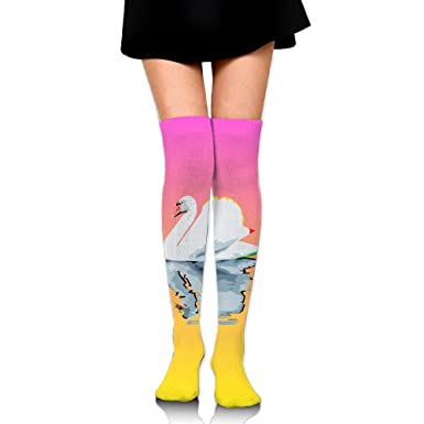 Swan On Colorful Lake Women's Long Over The Knee Thigh High Stockings Cosplay Socks Stocking