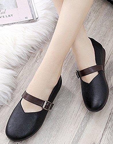 VECJUNIA Ladies Mary Jane Flat Casual Comfy Shoes Soft Sole Anti Slip Low Wedge Heel Shoes Black llgw0