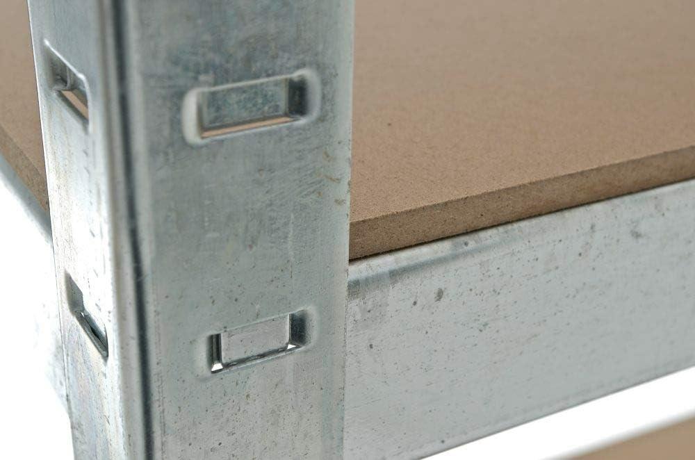 CLP Estanter/ía Met/álica Galvanizada 90x45x180 cm I Estanter/ía con Capacidad por Estante de 265 kg I Estanter/ía Met/álica de 5 Baldas I Color Plateado