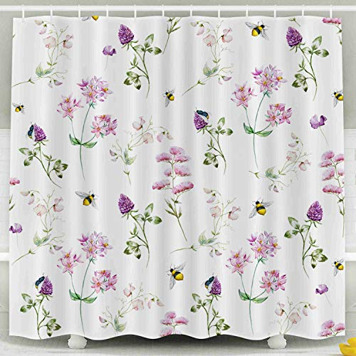 Shorping 78x72 Shower Curtain,Kids Shower Curtain, Watercolor Pattern Delicate Wildflowers Waterproof Decor Bathroom Set with Hooks
