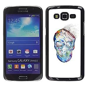 LECELL--Funda protectora / Cubierta / Piel For Samsung Galaxy Grand 2 SM-G7102 SM-G7105 -- Dust Watercolor White Skull Skeleton --