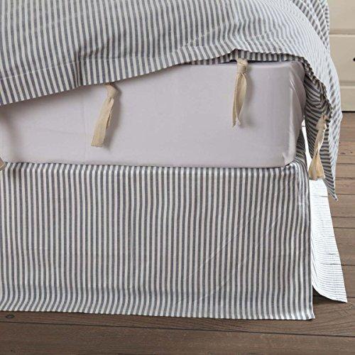 Piper Classics Farmhouse Ticking Blue King Bed Skirt, 78x80 w/16 Drop, Tailored Dust Ruffle White Striped Dust Ruffle