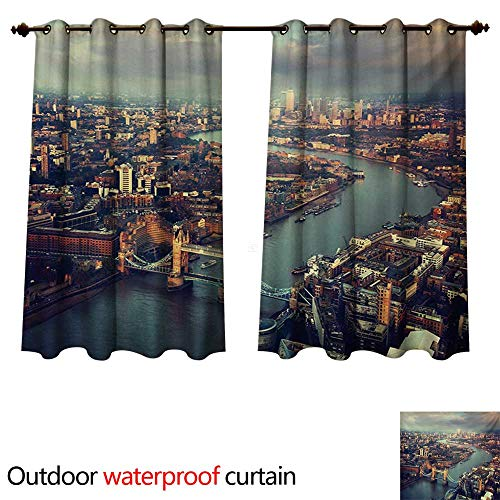 WilliamsDecor London Outdoor Curtains for Patio Sheer Panoramic Picture of Thames River and Tower Bridge Famous Cityscape W63 x L63(160cm x 160cm)