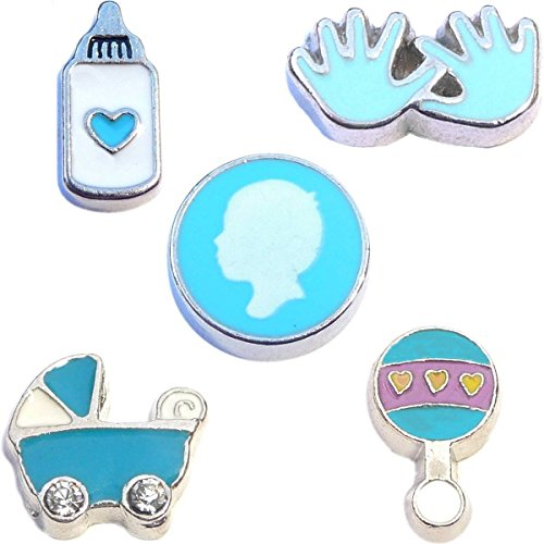 Baby Set Charms - Bouncing Baby Boy Charm Set for Floating Lockets