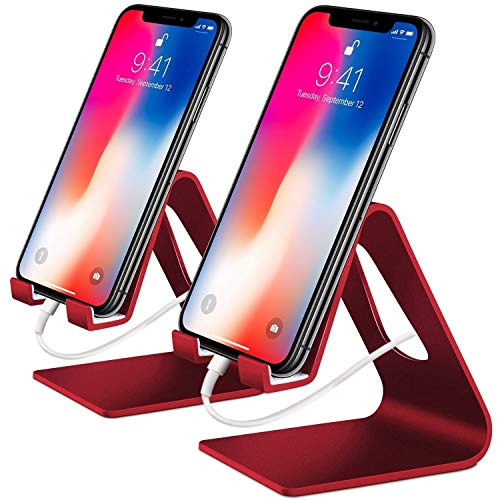 COOLOO Cell Phone Stand,?2 Pack? Mobile Phone Anti-Skid Holder, Cradle, Dock Compatible Android Smartphone, Phone 11 Pro Xs Max Xr X 8 7 6 6s Plus 5s, Accessories Desk - Red