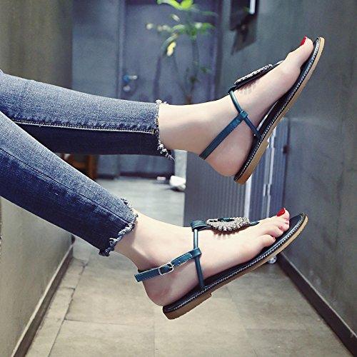 YMFIE Onorevoli estate estate estate punta piedi sandali moda trapano acqua confortevole antiscivolo con fondo piatto scarpe da spiaggia,37 UE,verde 01abf8