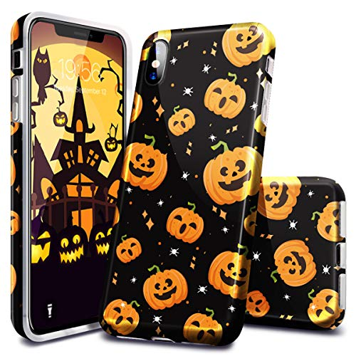 Fingic Compatible with Apple iPhone Xs MAX Case,iPhone Xs MAX Case (2018), Halloween Design Clear Bumper TPU Soft Case Rubber Silicone Skin Cover for Apple iPhone Xs MAX (2018) -Pumpkins]()