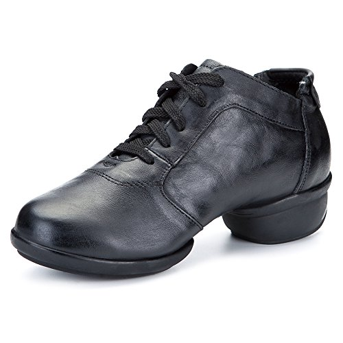 Roymall Men and Womens Leather Boost Dance Sneaker/Modern Jazz Ballroom Performance Dance-Sneakers Sports Shoes,Model B65 Black-2