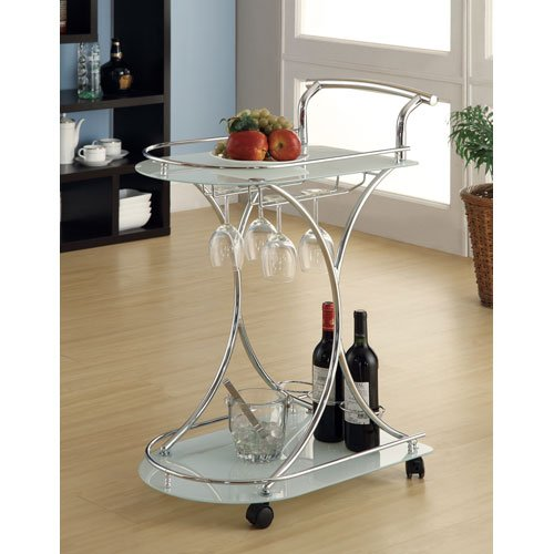 Serving Cart with 2 Frosted Glass Shelves Chrome and White Coaster 910002