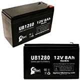 2X Pack - APC Back-UPS 900 BX900-CN Battery - Replacement UB1280 Universal Sealed Lead Acid Battery (12V, 8Ah, 8000mAh, F1 Terminal, AGM, SLA) - Includes 4 F1 to F2 Terminal Adapters