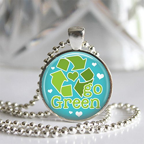 Amazon go green silver bezel glass tile pendant necklace earth go green silver bezel glass tile pendant necklace earth day jewelry aloadofball Image collections