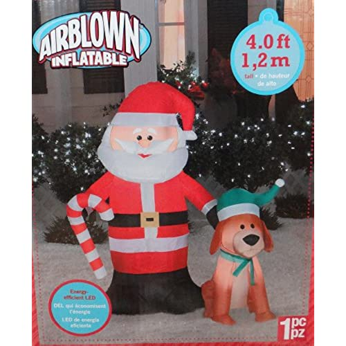 gemmy airblown santa and dog 4 - Outdoor Dog Christmas Decorations