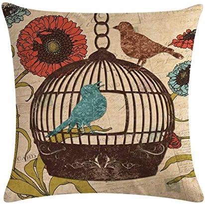 SHASO 45Cm * 45Cm Pájaros Y Jaulas De Madera De Época Funda De Cojín De Lino/Algodón Y Funda De Almohada para Sofá Funda De Almohada Decorativa para El Hogar 3