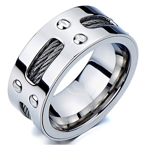 - Man's Stainless Steel Ring Wedding Band with Steel Cables and Screws 10mm(26a)