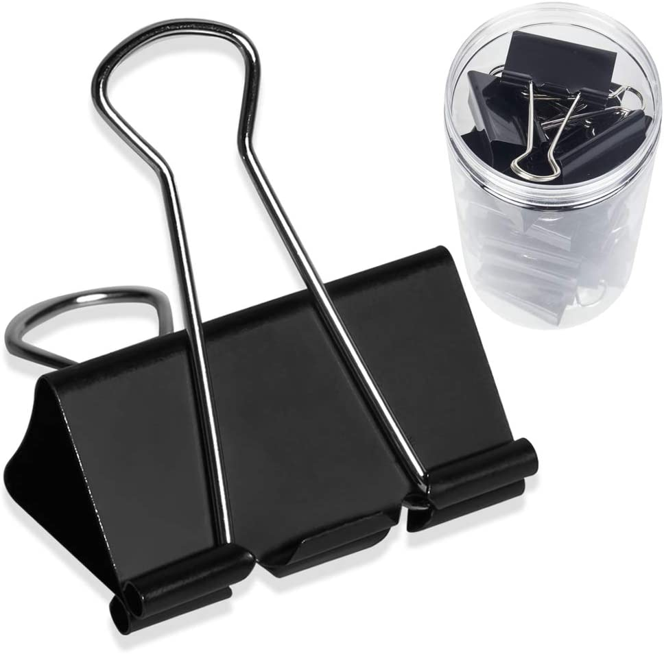 24 Packs Extra Large Binder Clips, 2 Inch Big Paper Clamps for Office, School and Home Supplies, Black : Office Products