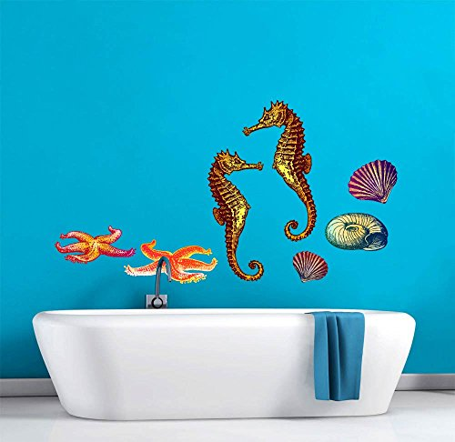 45 Inch Decal (Sea Life Underwater World Scene Wall Decal - 45