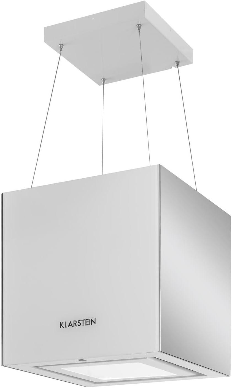 Klarstein Kronleuchter Pearl Edition - Campana extractora de techo, Campana tipo isla, Extractor cocina, Capacidad 600 m³/h, Iluminación LED, Cristal espejado, Eficiencia energética A, Blanco