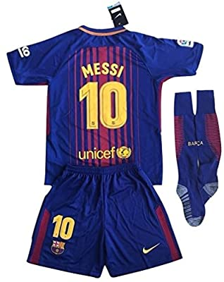 FC Barcelona 2017-2018 Messi Youths Home Soccer Jersey & Socks Set