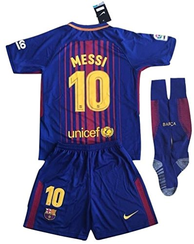 fan products of Nike Messi #10 FC Barcelona 2017-2018 Youths Home Soccer Jersey & Socks Set (7-8 Years Old)