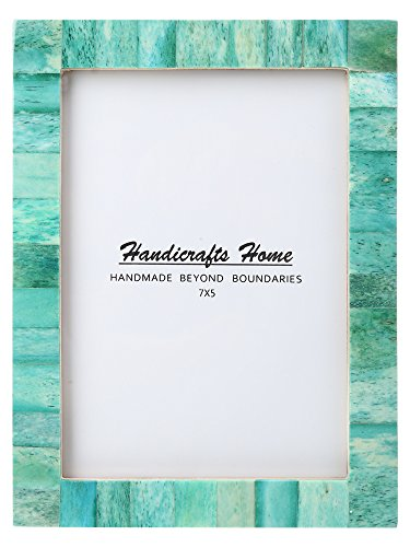 New Real Handmade Black White Bone Photo Picture Vintage Imported Chic Frame Made to Display 4x6 5x7 Pictures (5x7, Green)