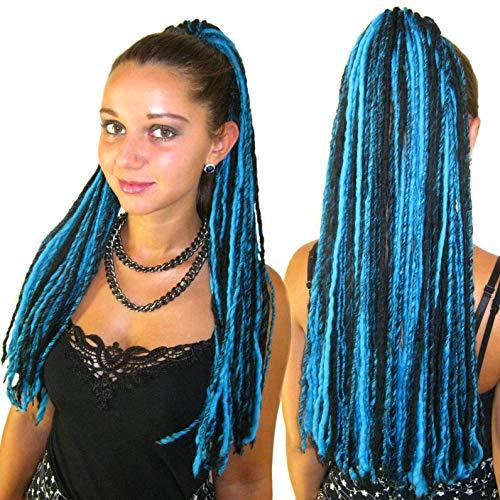 Goth Dread Falls Turquoise Black Yarn Dreadlocks 112 Locs Gothic Belly Dance hair falls Goa Fairy wool dreads Lightweight hair piece Tribal Fusion hair accessory Cosplay & Lolita costume hair
