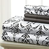 Black and White King Size Bedding Sets Spirit Linen Hotel 5Th Ave Prestige Home Collection 6 Piece Sheet Set, King, Black White Scroll