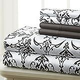 Spirit Linen Hotel 5Th Ave Prestige Home Collection Juego de sábanas de 6 piezas, Queen, Black White Scroll