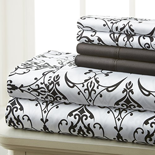 Spirit Linen Hotel 5Th Ave Prestige Home Collection 6 Piece Sheet Set, Queen, Black White Scroll