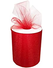 """Craft and Party, 6"""" by 200 Yards (600 ft) Fabric Tulle Spool for Wedding and Decoration. Value Pack. (Red)"""