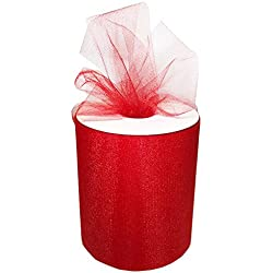 "Craft and Party, 6"" by 200 yards (600 ft) fabric tulle spool for wedding and decoration. Value pack. (Red)"