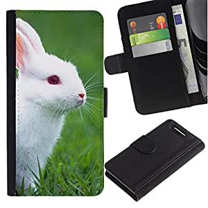 Sony Xperia Z1 Compact / Z1 Mini / D5503 , la tarjeta de Crédito Slots PU Funda de cuero Monedero caso cubierta de piel ( Rabbit Cute White Blue Eyes Grass Nature)
