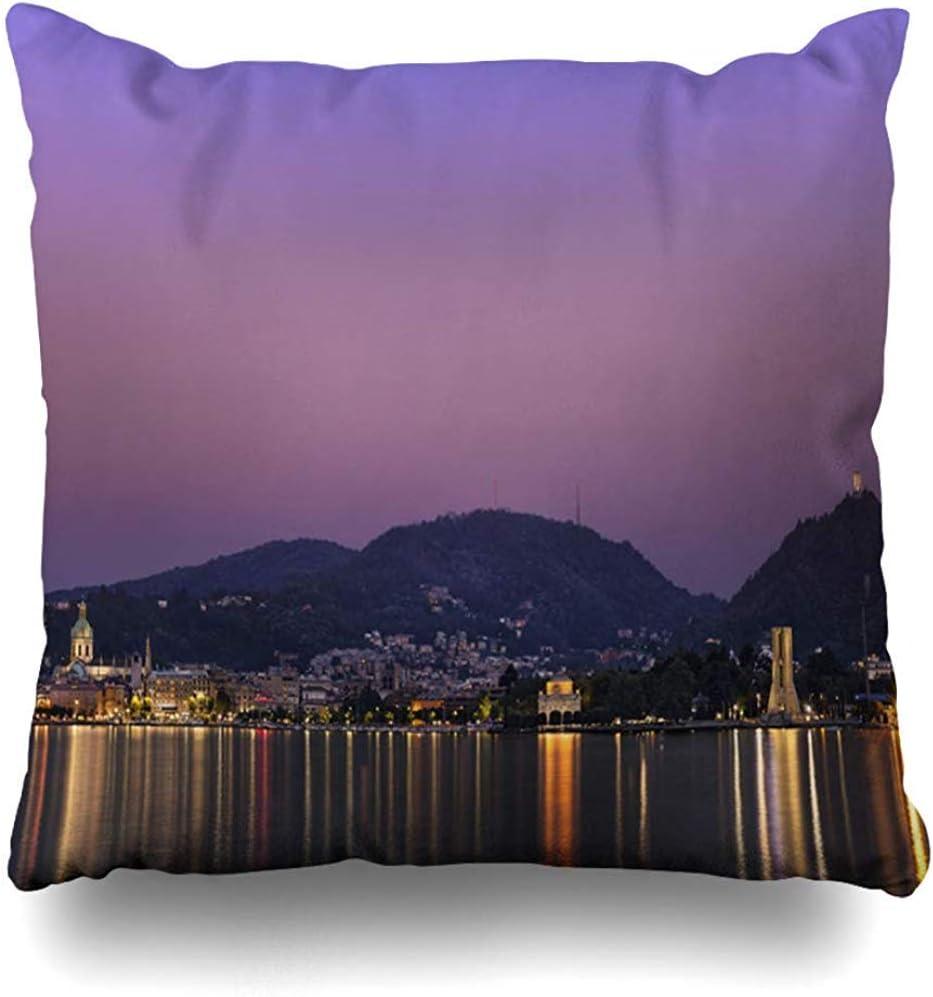 AmyNovelty como Azul Italia Ciudad Naturaleza Alpes Bellagio Barco Cernobbio Fundas de Almohada con Estampado de Doble Cara para Correr Escalada Viajar,45x45cm