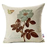 Decorative Pillow Cover - Monkeysell Lotus Leaf Butterfly Flowers Pattern Cotton Linen Throw Pillow Case Cushion Cover Home Sofa Decorative 18 X 18 Inch (S042A3)