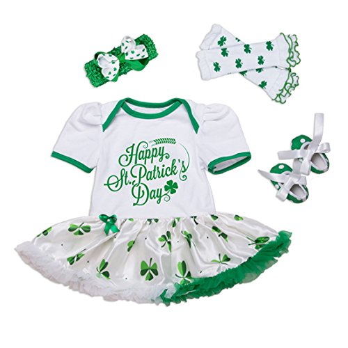 Baby Girls St. Patrick's Day 4PCS Party Outfits Dress Set (L (6-12 Months), Clover) (St Patricks Outfit)
