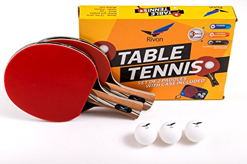 Rivon Ping Pong Paddle Set - 2 Table Tennis Rackets & 3 Balls - Affordable Pro Performance - 6 Star - The Best Power, Precision & Speed - Beginners to Proffesional - FREE Ebook