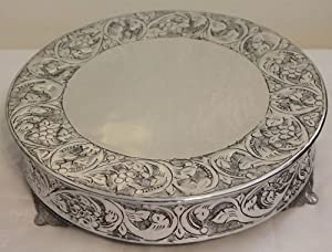 14 inch silver round wedding cake stand plateau