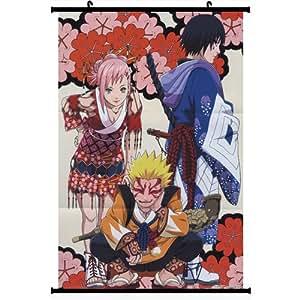 Naruto Anime Wall Scroll Poster Haruno Sakura Uzumaki Naruto Uchiha Sasuke(16''*24'')support Customized