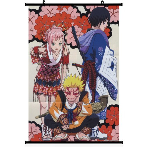 Naruto Anime Wall Scroll Poster Haruno Sakura Uzumaki Naruto Uchiha Sasuke 16*24 support Customized