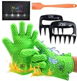 Bright Dezigns Heat Proof Gloves for Cooking Grilling, Oven, BBQ. Silicone Basting Brush | Extra Sharp Bear Claws Meat Shredder 3 in 1 Barbecue Set |Gift Boxed.