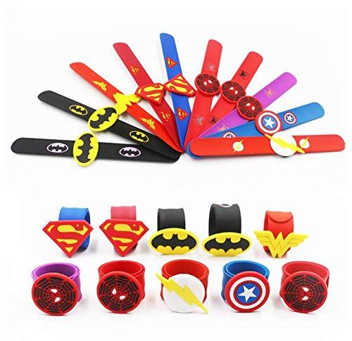 Astra Gourmet Superhero Silicone Slap Bracelets - Super Hero Slap Bands Bracelet Party Favors Wristband for Kids Boys & Girls Birthday Party Supplies (10 Pack) ()
