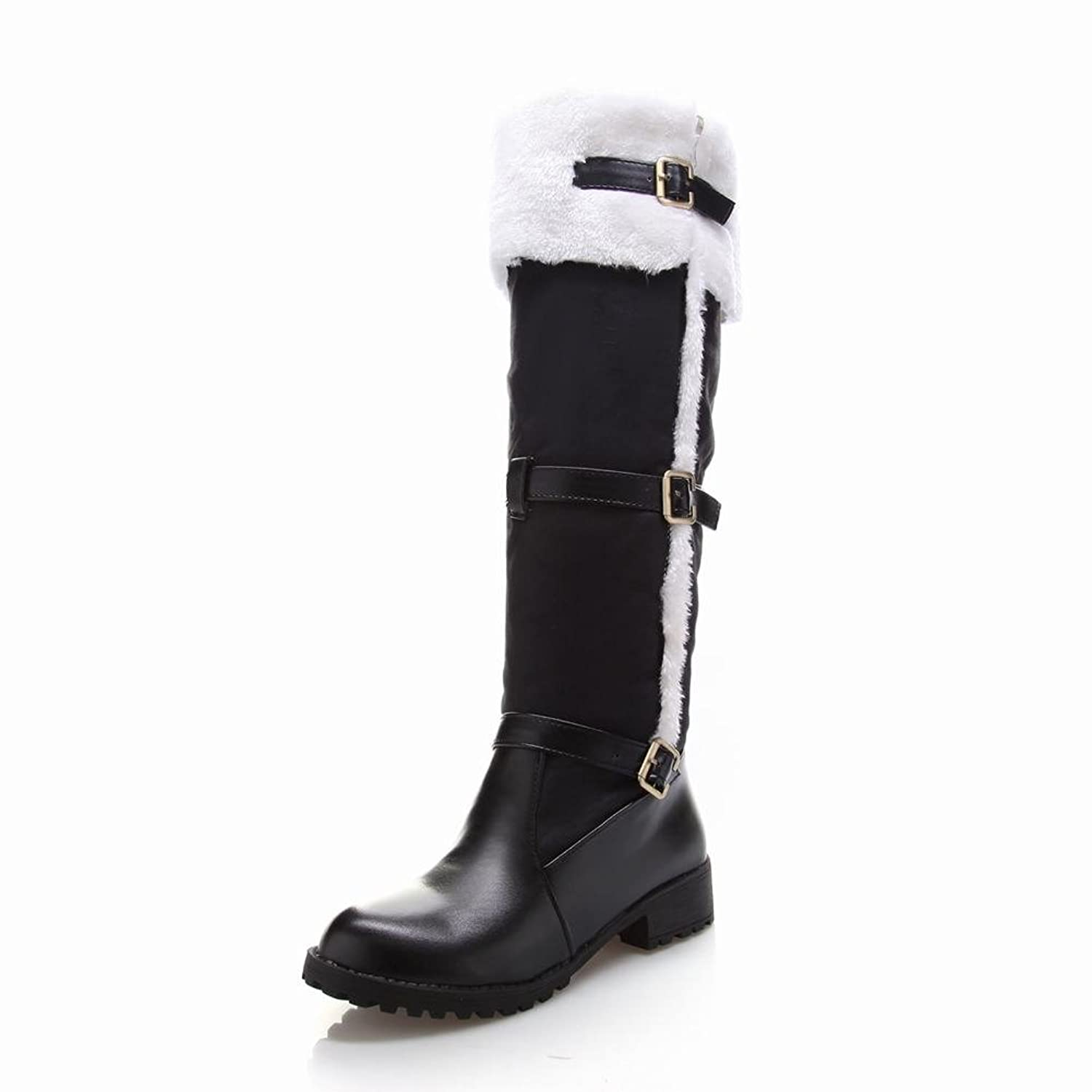 Latasa Women's Fashion Leather&faux-fur Knee-high Snow Boots, Buckles Decoration