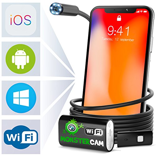 Endoscope - Inspection Camera - Endoscope camera- Snake Camera Iphone 6 7 8 X Android IOS - USB Borescope Endoscope - Wireless Waterproof Home Automotive Vehicle Welding Digital LED WiFi Endoscope HD Vistaquest Video Cameras