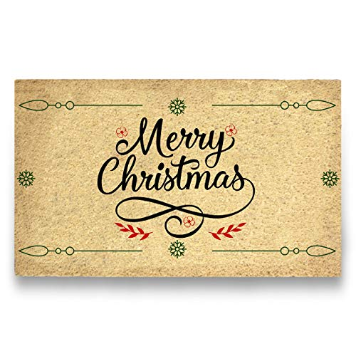 Pure Coco Coir Doormat with Heavy-Duty PVC Backing - Merry Christmas - Perfect Color/Sizing for Outdoor/Indoor uses. Pile Height: 15mm - Size: 18-Inches x 30-Inches