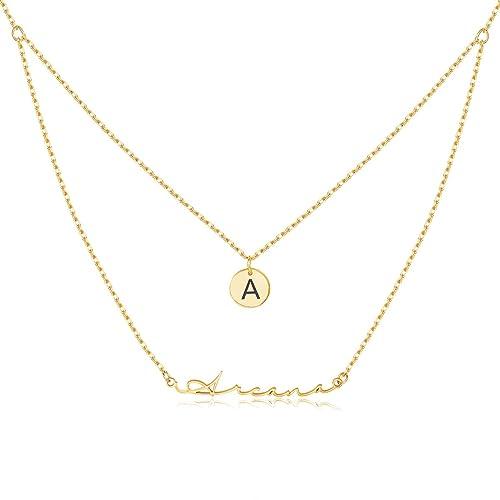 ad167436bf84e Amazon.com: MeMoShe Layered Choker Name Necklace Personalized ...