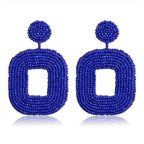 Statement Drop Earrings,NLCAC Beaded Square Earrings Bohemian Beaded Hoop Dangle Earrings for Women Girls (Royal Blue)