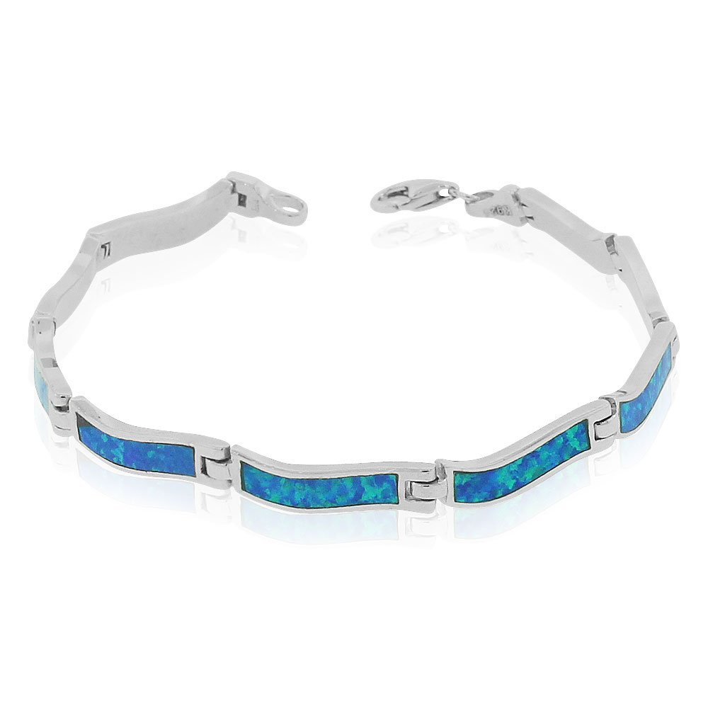 925 Sterling Silver Simulated Blue Opal Link Tennis Bracelet, 7'' by My Daily Styles