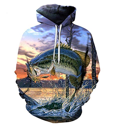 Swag Hipster Fishing Hoodies Unisex Pull Over Largemouth Bass Print 3D - Sweatshirt Swag Hoodie